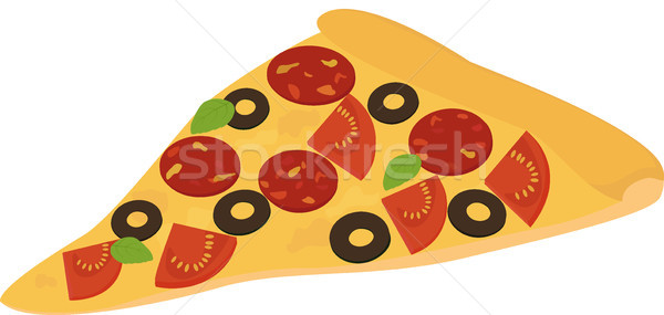 slice of pizza with salami, pepperoni, tomato and olive Stock photo © Hipatia