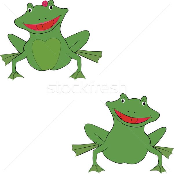 Coppia cartoon divertimento verde sorridere ragazza Foto d'archivio © Hipatia