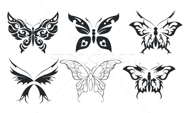 Print set of six stylize butterfly Stock photo © Hipatia