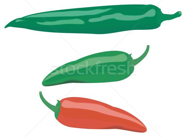 Peperoni tre diverso colore isolato Foto d'archivio © Hipatia