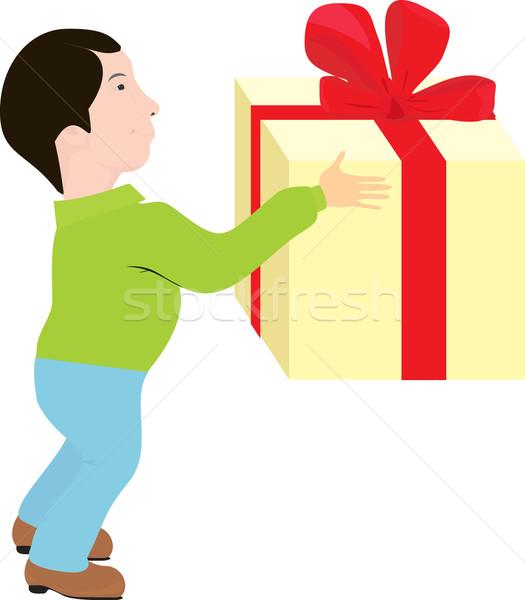 Uomo regalo cartoon grande scatola regalo compleanno Foto d'archivio © Hipatia