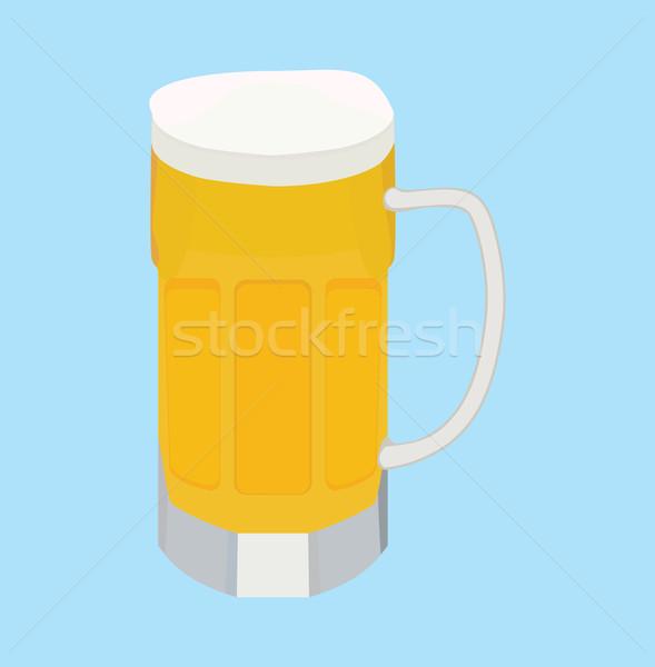 Cartoon birra isolato alto vetro blu Foto d'archivio © Hipatia