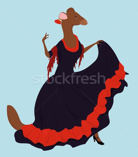 Flamenko dansçı araştırmak uzun elbise örnek Stok fotoğraf © Hipatia