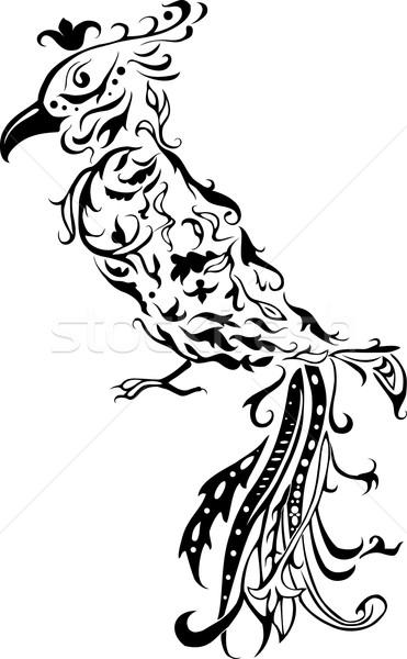 Floreale stilizzato uccello pattern nero come Foto d'archivio © Hipatia
