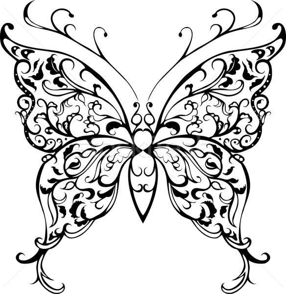 Pattern pizzo farfalla decorativo nero bianco Foto d'archivio © Hipatia