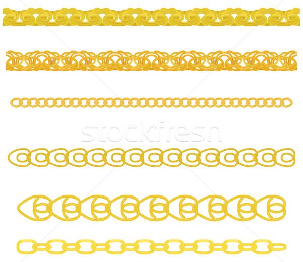 Oro catena set catene diverso metal Foto d'archivio © Hipatia