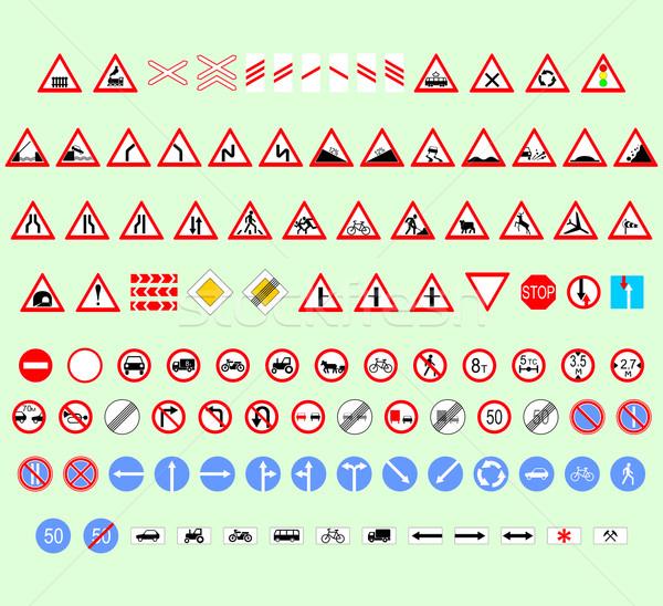 Traffico segni set diverso dimensioni Foto d'archivio © Hipatia