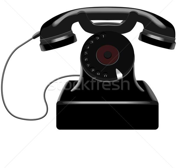 Retro telefono bianco business tecnologia cavo Foto d'archivio © Hipatia