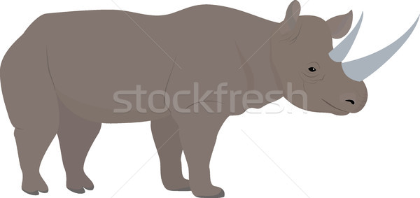 cartoon african rhino with big horns, vector Stock photo © Hipatia