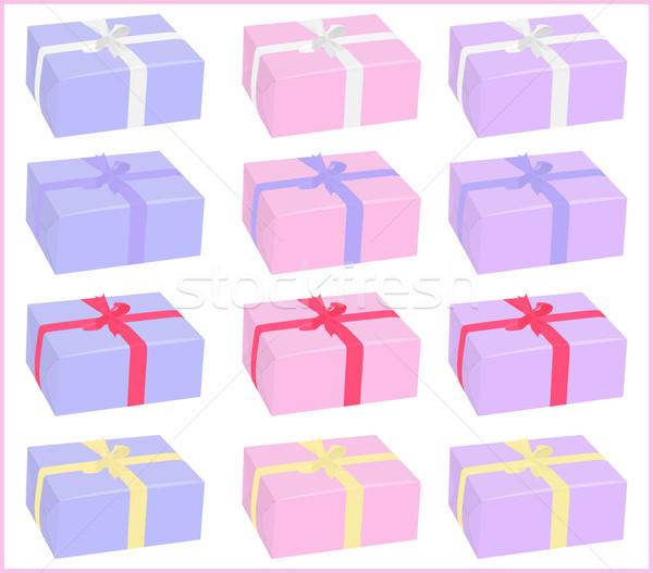 Set scatole diverso colori archi bianco Foto d'archivio © Hipatia