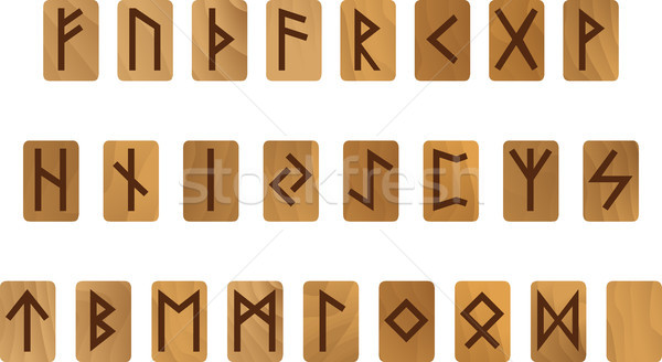 Wooden alphabet with ancient Old Norse runes Futhark Set of scandinavian and germanic letters Stock photo © Hipatia