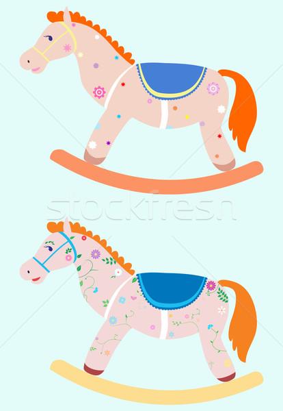 Cavallo a dondolo due decorato blu felice divertimento Foto d'archivio © Hipatia