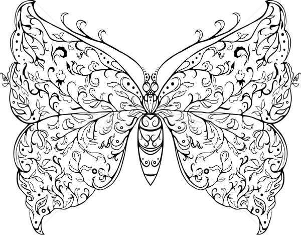 Floreale farfalla fantasia nero decorativo pattern Foto d'archivio © Hipatia