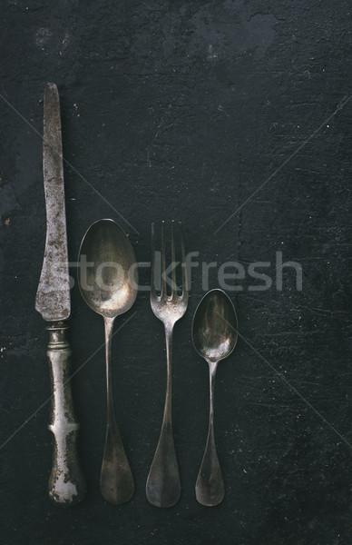 Argenterie vintage noir rustique rétro filtrer Photo stock © hitdelight