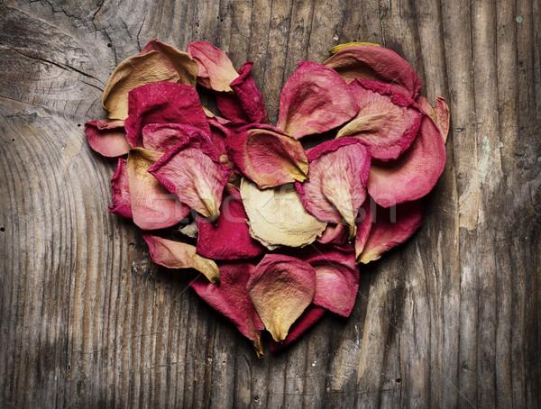 バラの花びら 心臓の形態 花 中心 歳の誕生日 フレーム ストックフォト © hitdelight