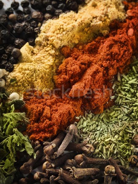 Baharatlar renkli arka plan mutfak tablo Stok fotoğraf © hitdelight