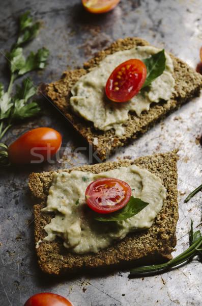 Cozinha mediterrânea berinjela tomates manjericão comida cozinha Foto stock © hitdelight