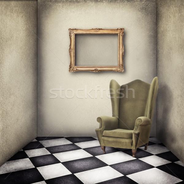 Bağbozumu oda eski moda koltuk ahşap moda Stok fotoğraf © hitdelight