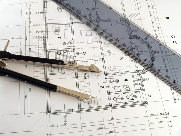 Divider and ruler on architectural plan Stock photo © hitdelight