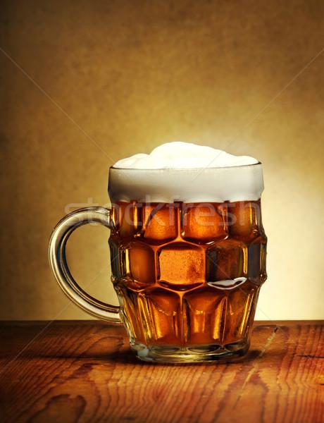 Birra mug rustico tavolo in legno alimentare party Foto d'archivio © hitdelight