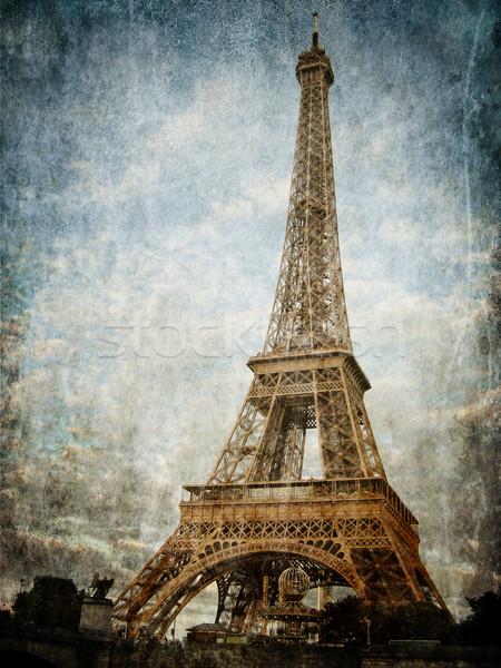 Paris · vintage · Torre · Eiffel · cidade · pintar - foto stock ...