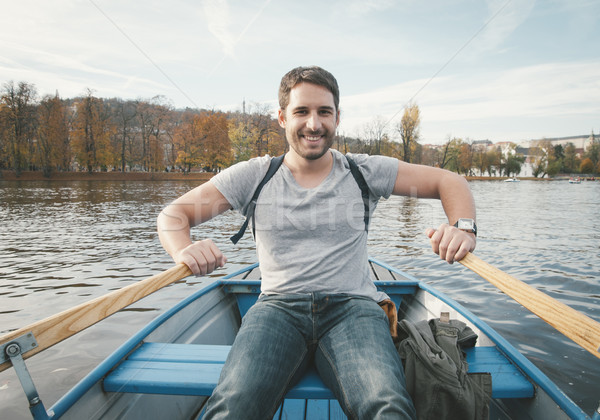 Man rowing on the river Stock photo © hitdelight