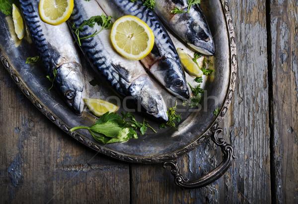 Zilver plaat citroen voedsel zee diner Stockfoto © hitdelight