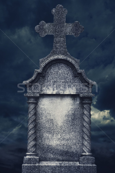 Lápida sepulcral edad noche halloween diseno cruz Foto stock © hitdelight