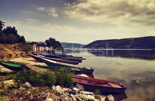 Vissen boten rivier hemel water voorjaar Stockfoto © hitdelight
