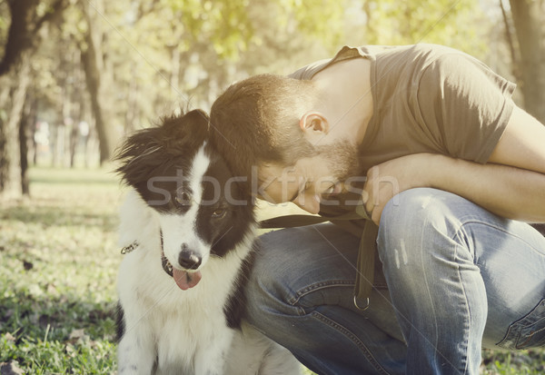 Man with his dog Stock photo © hitdelight