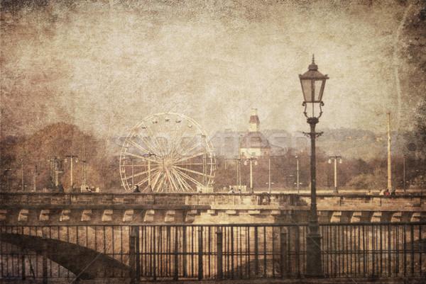 Дрезден Vintage изображение Германия воды бумаги Сток-фото © hitdelight