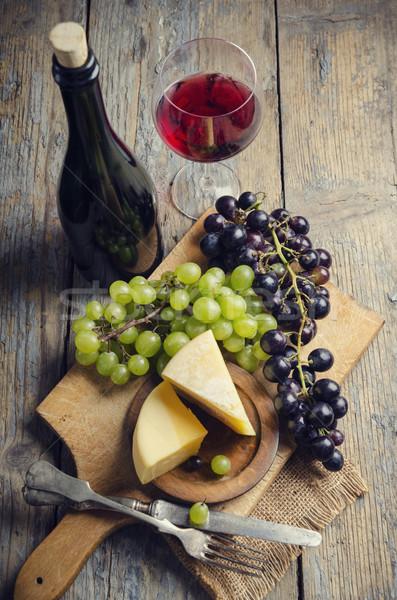 Vino formaggio rustico tavolo in legno party legno Foto d'archivio © hitdelight