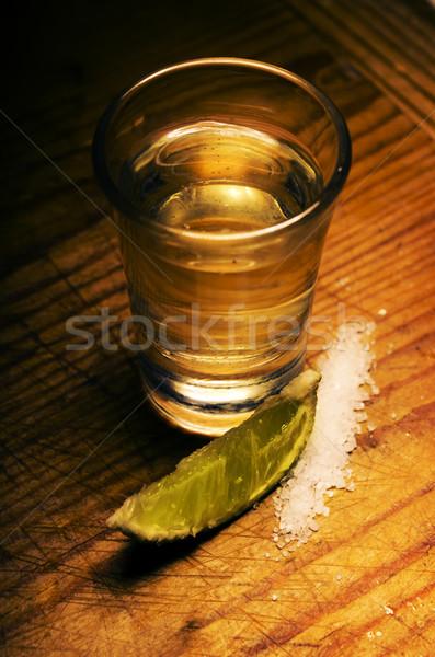 Tequila tiro cal rebanada sal fiesta Foto stock © hitdelight