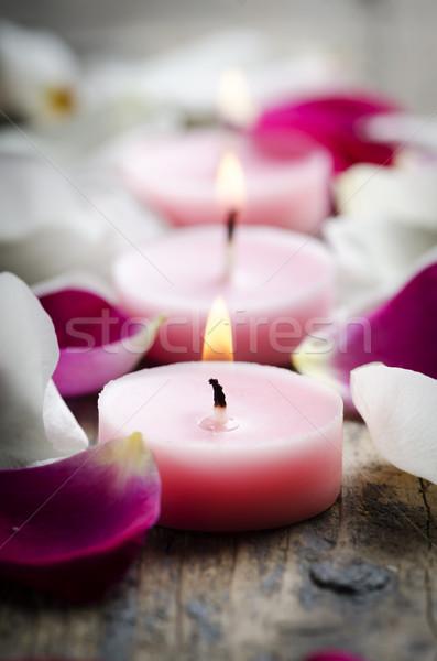 Spa velas flor fuego naturaleza Foto stock © hitdelight