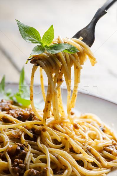 спагетти томатном соусе базилик вилка фон сыра Сток-фото © hitdelight