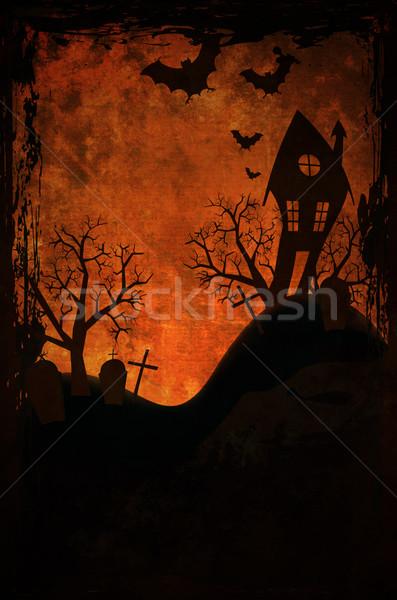Halloween design casa cimitero luna sfondo Foto d'archivio © hitdelight