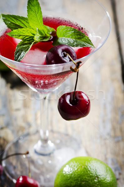 Stockfoto: Kers · cocktail · martini · glas · rustiek · tabel · partij