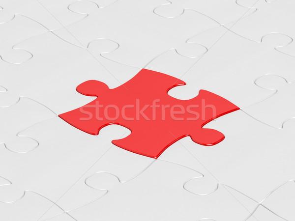 Piros puzzle fehér kirakós játék egy háttér Stock fotó © hitdelight