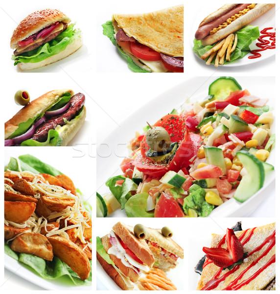 レストランの食べ物 コラージュ 異なる レストラン 料理 白 ストックフォト © hitdelight