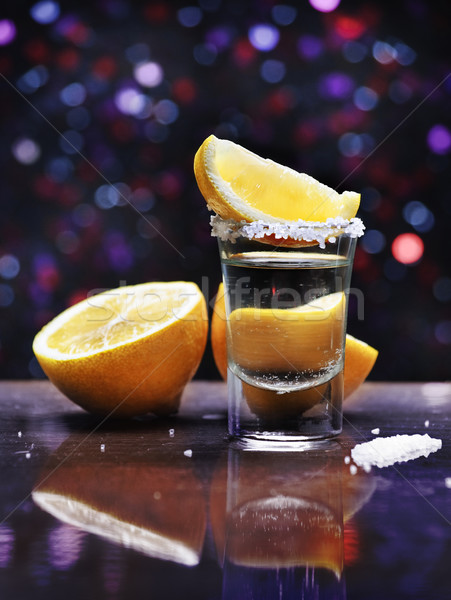 Tequila tiro sal vidro bar Foto stock © hitdelight