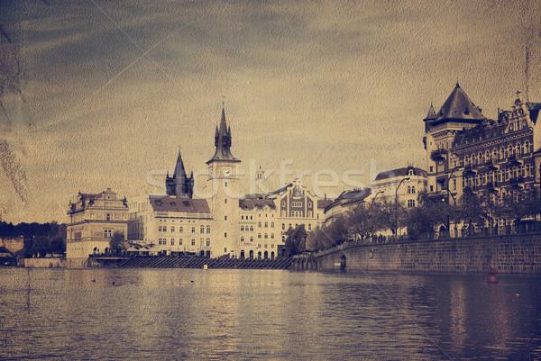 Praga vintage immagine carta costruzione città Foto d'archivio © hitdelight