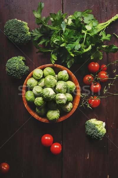 Vegetali fresche colorato tavolo in legno stile retrò alimentare Foto d'archivio © hitdelight