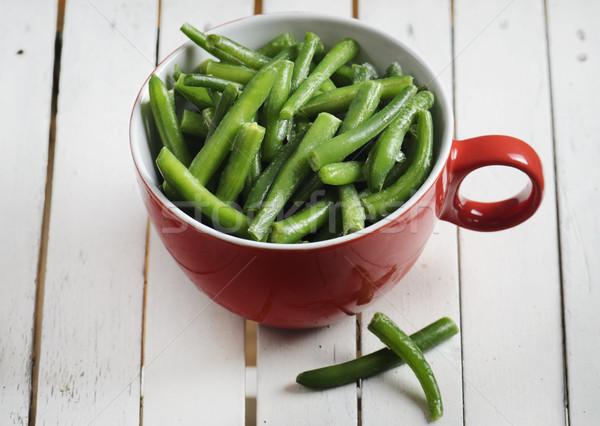 サヤインゲン 新鮮な 赤 ボウル 食品 木材 ストックフォト © hitdelight