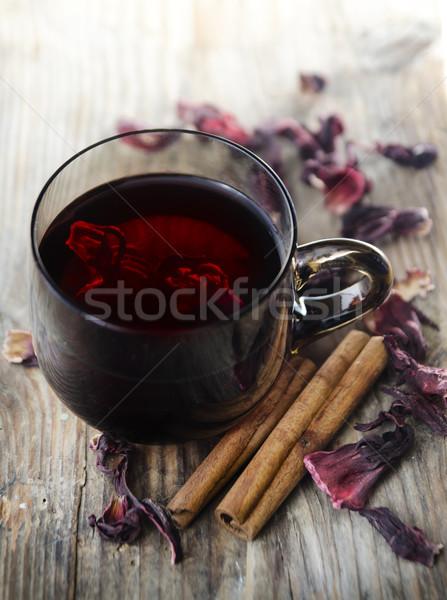 Ebegümeci çay kurutulmuş gıda ahşap Stok fotoğraf © hitdelight