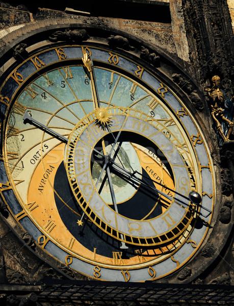 Csillagászati óra Prága Csehország arc város Stock fotó © hitdelight