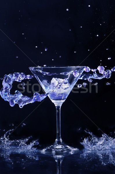 Koktél csobbanás csobbanás sötét víz étel Stock fotó © hitdelight