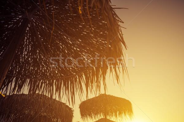 日没 レトロスタイル ビーチ 空 水 光 ストックフォト © hitdelight
