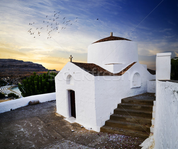 Church in Lindos, Rhodes Stock photo © hitdelight