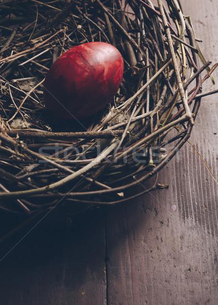 イースターエッグ 赤 鳥の巣 レトロスタイル 食品 幸せ ストックフォト © hitdelight