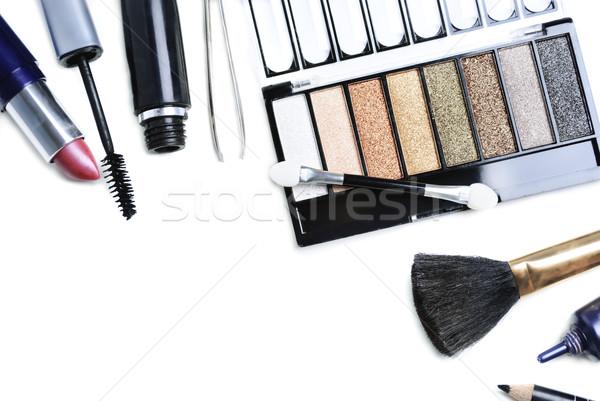 Make-up cosmetica geïsoleerd witte gezicht Stockfoto © hitdelight